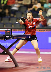 30.01.2016, Max Schmeling Halle, Berlin, GER, German Open 2016, im Bild Ai Fukuhara (JPN) bei der Ballannahme // during the table Tennis 2016 German Open at the Max Schmeling Halle in Berlin, Germany on 2016/01/30. EXPA Pictures © 2016, PhotoCredit: EXPA/ Eibner-Pressefoto/ Wuest<br /> <br /> *****ATTENTION - OUT of GER*****
