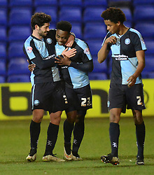 Wycombe Wanderers's Fred Onyedinma is congratulated by team-mate Joe Jacobson (L) after scoring the second goal- Photo mandatory by-line: Richard Martin-Roberts/JMP - Mobile: 07966 386802 - 03/03/2015 - SPORT - football - Tranmere - Prenton Park - Tranmere Rovers v Wycombe Wanderers - Sky Bet League Two