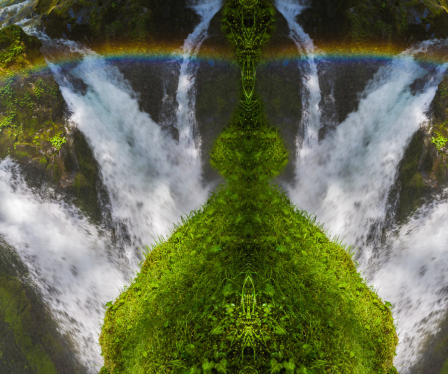 """""""Confluence Crowd Contol"""", derivative image from a photo of Sol Duc Falls and rainbow, afternoon light, June, Olympic National Park, Washington, USA"""