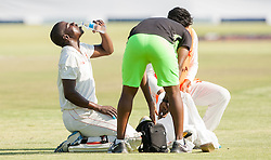 Zimbabwe batsman Donald Tiripano takes in some water in action during the third day of the 100th test match for Zimbabwe played in a series of two matches with Sri Lanka at Harare Sports Club 31 October 2016.