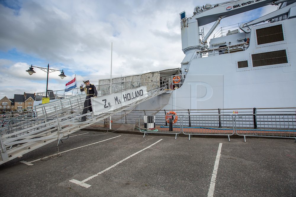 @Licensed to London News Pictures 08 06 2017. Chatham, Medway, Kent. The Royal Prins Maurits of the Netherland ion a guided tour on board HNLMS Holland to commemorate the Battle of Medway at Upnor Castle in Kent today. The Battle of Medway took place in 1667 when the Dutch launched a daring assault on the British upon the River Medway at Chatham destroying the whole fleet . Photo credit: Manu Palomeque/LNP