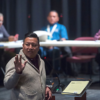 Kermit Yazzie with the Navajo Housing Authority addresses the crowd directly during the public hearing on Housing Issues and Concerns at the Navajo Nation Museum in Window Rock Wednesday.
