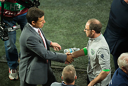 CARDIFF, WALES - Monday, October 9, 2017: Wales' manager Chris Coleman and Republic of Ireland manager Martin O'Neill react at the final whistle during the 2018 FIFA World Cup Qualifying Group D match between Wales and Republic of Ireland at the Cardiff City Stadium. (Pic by Peter Powell/Propaganda)