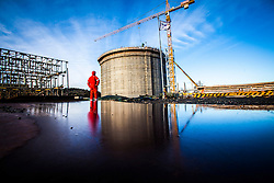 Workman at the the new Ethane gas tank under construction.<br /> INEOS Rafnes plant, in Norway, as part of an INEOS Media Trip.