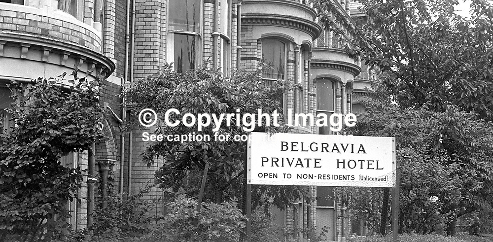 Belgravia Hotel, Belfast, N Ireland, UK. The hotel was created from a block of elegant terrace houses in the suburbs of South Belfast.  Outwardly they retained the appearance of individual homes. 197308220561c.<br /> <br /> Copyright Image from Victor Patterson, Belfast, UK<br /> <br /> t: +44 28 9066 1296 (from Rep of Ireland 048 9066 1296)<br /> m: +44 7802 353836<br /> e: victorpattersonbelfast@gmail.com<br /> <br /> www.images4media.com<br /> <br /> Please see my full Terms and Conditions of Use at https://www.images4media.com/p/terms-conditions - it is IMPORTANT that you familiarise yourself with them.<br /> <br /> Images used online incur an additional cost. This cost should be agreed in writing in advance. Online images must be visibly watermarked i.e. © Victor Patterson or that of the named photographer within the body of the image. The original metadata must not be deleted from images used online.<br /> <br /> This image is only available for the use of the download recipient i.e. television station, newspaper, magazine, book publisher, etc, and must not be passed on to a third party. It is also downloaded on condition that each and every usage is notified within 7 days to victorpattersonbelfast@gmail.com.<br /> <br /> The right of Victor Patterson (or the named photographer) to be identified as the author is asserted in accordance with The Copyright Designs And Patents Act (1988). All moral rights are asserted.