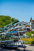 Maidenhead, Berkshire, UK., 29th May 2020, Maidenhead RC, COVID 19, Training, Only private-owned Single Sculls,  All athletes [Juniors Masters,] have to observe Social Distancing,<br /> Towing trailers used to rack and store boats,<br />  [© Peter Spurrier/Intersport Images],