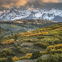 The golden glow of an autumn sunset in the stunning San Juan Mountains of southwest Colorado.
