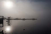Varese. Lombardia. ITALY. General View. Varese Rowing Club. [Canottieri Varese] Crews boating<br /> <br /> Thursday  22/12/2016 <br /> <br /> [Mandatory Credit; Peter Spurrier/Intersport-images] , Atmospheric, mist, fog, Sunrise, Sunset, Blue Hour,
