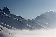 Mountains in the French Alps in the ski area of La Domaine du Balme, above Le Tour, near Chamonix