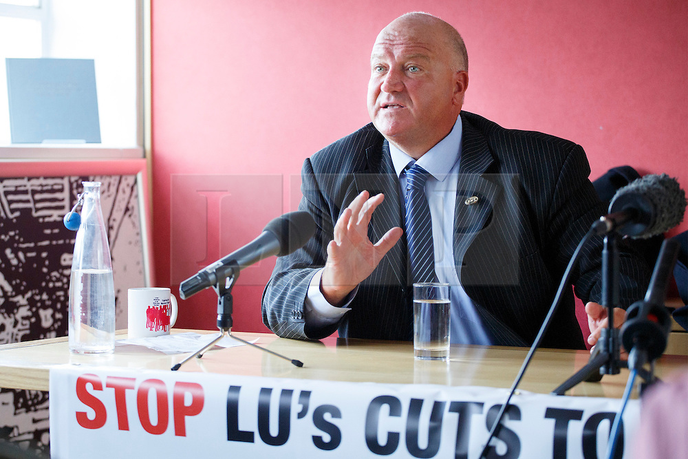 © Licensed to London News Pictures. 11/03/14 RMT union has confined its leader BOB CROW has died today. FILE PICTURE DATED: 03/02/2014. Bob Crow, General Secretary of the National Union of Rail answering media's questions at TUC HQ in central London ahead of two planned 48-hour London Tube strikes. Photo credit: Tolga Akmen/LNP