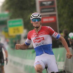 LACHEN (SUI) CYCLING<br />Mathieu van der Poel made his move in the second stage of the Tour de Suisse.<br />The Dutch champion from Alpecin-Fenix rode up with the best riders on a short, steep climb around the finish line in Lachen and then fended off the others in the descent. He was caught up, but eventually won the sprint of the first riders. Wout Poels finished just behind him in third place.