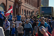The Rangers team bus arrives and is swamped by the fans looking to get a glimpse of their idols during the Ladbrokes Scottish Premiership match between Rangers and Celtic at Ibrox, Glasgow, Scotland on 12 May 2019.