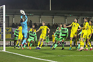 Free kick is caught by Oxford United's goalkeeper Simon Eastwood(1) during the The FA Cup 1st round replay match between Forest Green Rovers and Oxford United at the New Lawn, Forest Green, United Kingdom on 20 November 2018.