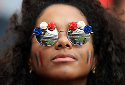 Fans of France in the stands before the FIFA World Cup 2018 final at the Luzhniki Stadium in Moscow, 15th July 2018
