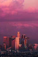 Downtown LA Skyline and Mount Baldy, Los Angeles, California