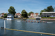 """Henley on Thames, United Kingdom, 2nd July 2018, Monday,   """"Henley Royal Regatta"""",  view,  Leeds  Rowing Club, entered, in the """"Temple Challeng Cup"""",  """"Training on Henley Reach"""", River Thames, Thames Valley, England, © Peter SPURRIER,"""