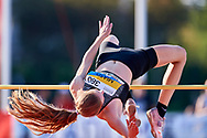 Poland, Radom - 2020 September 12: Wiktoria Miaso (CWKS Resovia Rzeszow) from Poland competes in women's high jump final while 74. PZLA Athletics Polish Championships U20 - Radom 2020 - Day#2 during pandemic COVID-19 at MOSiR Stadium on September 12, 2020 in Radom, Poland.<br /> <br /> Mandatory credit:<br /> Photo by © Adam Nurkiewicz<br /> <br /> <br /> Adam Nurkiewicz declares that he has no rights to the image of people at the photographs of his authorship.<br /> <br /> Picture also available in RAW (NEF) or TIFF format on special request.<br /> <br /> Any editorial, commercial or promotional use requires written permission from the author of image. Single publication only for informational, journalistic or documentary purposes inside a newspaper, magazine or book (digital versions allowed). One edition on the territory of one country. Resale is forbidden.<br /> <br /> Image can be used in the press when the method of use and the signature does not hurt people on the picture.