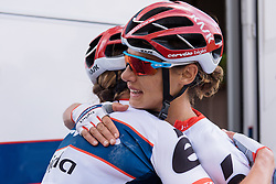 Ashleigh Moolman Pasio celebrates thrid place with her teammate, Clara Koppenburg at Boels Hills Classic 2016. A 131km road race from Sittard to Berg en Terblijt, Netherlands on 27th May 2016.