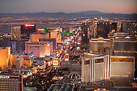 Aerial of Las Vegas Hotels looking South East