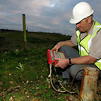 Island Waste, waste and rubbish disposal, technicial testing the methane venting from waste tip, Isle of Wight, Lyn Bottom Landfill, England, UK