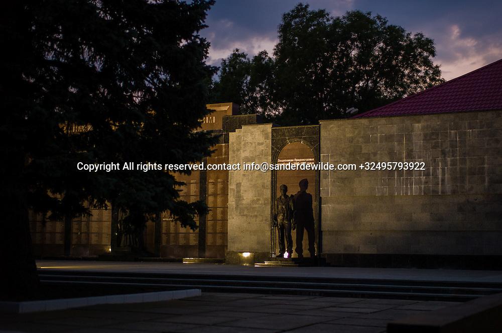 20150829  Moldova, Transnistria,Pridnestrovian Moldavian Republic (PMR) Tiraspol. The national monument for the victims of the war of Independence between this part of Moldova, Transnistria, and Moldova.A statue of a soldier stands at night