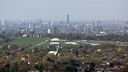 © Licensed to London News Pictures. 18/07/2014. View of Blackheath from Severndroog Castle - taken during restoration 10/04/2014. An 18th century castle on a hill in south east London is preparing to reopen this weekend following a lengthy, painstaking restoration project. Severndroog Castle in Oxleas Woods on Shooters Hill enjoys stunning views across seven counties on a clear day. The folly has been closed for many years and was in state of disrepair before work started on a restoration project last year. The historic building featured in the BBC series Restoration in 2004. The reopening takes place on Sunday July 20th - more information about the castle and the reopening available fron the Severndroog Castle Building Presevation Trust. http://www.severndroogcastle.org.uk/index.html Credit : Rob Powell/LNP