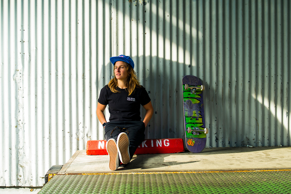 Former pro skateboarder and current Krux Trucks brand manager Alex White at NHS, Inc. in Santa Cruz, Calif.