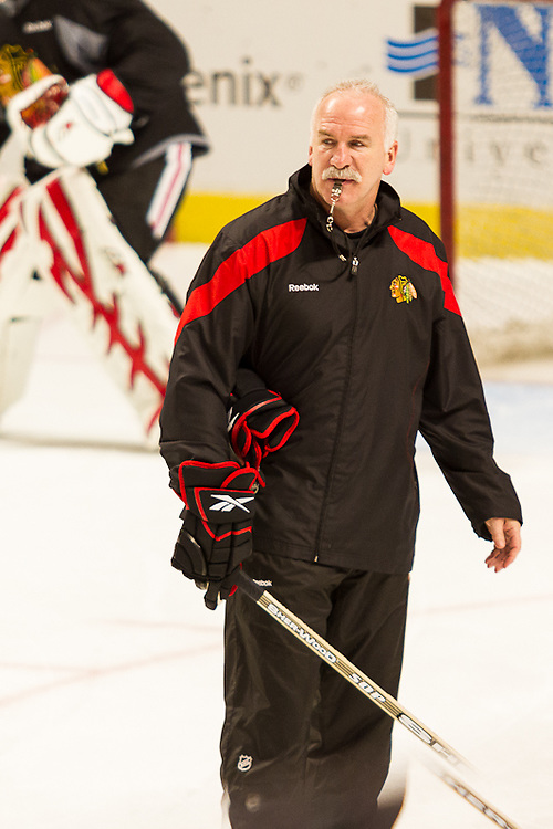 Chicago Blackhawks Coach Joel Quenneville during practice at the United Center December 29, 2011.