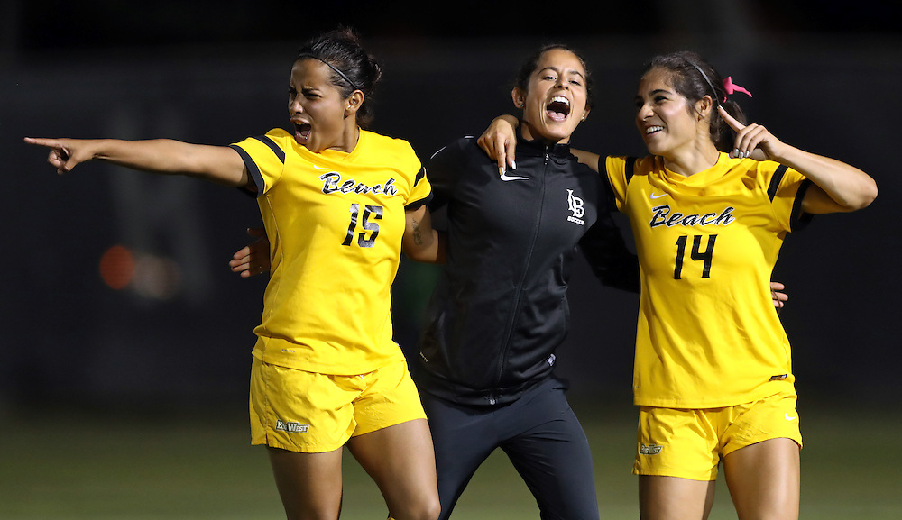 during the Big West Conference semi-final playoff game between the University of California - Northridge Matadors and the Long Beach State 49ers at George Allen Field on November 3, 2016.<br /> <br /> Photo by Darren Yamashita / Sports Shooter Academy