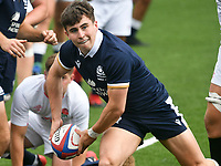 Rugby Union - 2021 U20 Six Nations - Round Two - England vs Scotland - Cardiff Arms <br /> <br /> Euan Cunningham Scotland Under 20s passes the ball out<br /> <br /> COLORSPORT/WINSTON BYNORTH