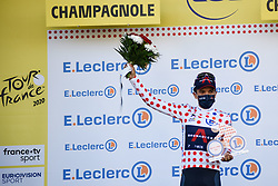Richard CARAPAZ (ECU) pictured celebrating on the podium as he retains the best climber classification polka-dot jersey at the end of stage 19 of Tour de France cycling race, over 166,5 kilometers (103.4 miles) with start in Bourg-en-Bresse and finish in Champagnole, France,Friday, September 18, 2020.//JEEPVIDON_1615015/2009191626/Credit:jeep.vidon/SIPA/2009191634 / Sportida