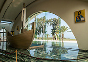 Replica of Jesus' boat at the Magdala Spirituality center, Magdala (Mejdel) - current day Migdal. On the Sea of Galilee