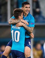 ST PETERSBURG, RUSSIA - OCTOBER 19, 2017. UEFA Europa League group stage: Zenit St Petersburg (Russia) 3 – 1 Rosenborg BK (Norway). Zenit St Petersburg's Emiliano Rigoni (L) and Leandro Paredes (R) celebrate scoring.