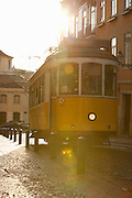 Old trams are iconic on the streets of Lisbon, Portugal