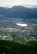 View over suburban housing area suburbs Solheim and Kronstad, city of Bergen, Norway in 1966
