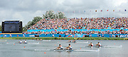 Eton Dorney, Windsor, Great Britain,..2012 London Olympic Regatta, Dorney Lake. Eton Rowing Centre, Berkshire.  Dorney Lake.  .Closing stages of the Men's Lightweight Double Sculls foreground. GBR LM 2X Silver Medalist, left Zac PURCHASE and Mark HUNTER..12:56:04  Saturday  04/08/2012 [Mandatory Credit: Peter Spurrier/Intersport Images]