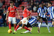 El-Hajdi Ba of Charlton Athletic (c) is  fouled by Fernando Forestieri of Sheffield Wednesday. Skybet football league championship match, Charlton Athletic v Sheffield Wednesday at The Valley  in London on Saturday 7th November 2015.<br /> pic by John Patrick Fletcher, Andrew Orchard sports photography.