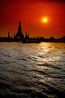 Chao Phraya RIver and Wat Arun (Temple of Dawn), Bangkok, Thailand