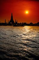 Chao Phraya RIver and Wat Arun (Temple of Dawn), Bangkok, Thailand