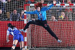 Goalkeeper of Krim Sergeja Stefanisin at handball match at Main round of Champions League between RK Krim Mercator, Ljubljana and CS Oltchim Rm. Valcea, Romania, in Arena Kodeljevo, Ljubljana, Slovenia, on 28th of February 2009. Krim won 35:34.