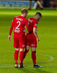 WREXHAM, WALES - Thursday, September 17, 2020: Connah's Quay Nomads' John Disney consoles Callum James Roberts as FC Dinamo Tiblisi win 1-0 thanks to an injury time penalty during the UEFA Europa League Second Qualifying Round match between Connah's Quay Nomads FC and FC Dinamo Tbilisi at the Racecourse Ground. Dinamo Tiblisi won 1-0. (Pic by David Rawcliffe/Propaganda)