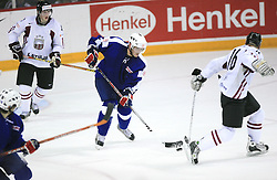 Damjan Dervaric of Slovenia at ice-hockey match Slovenia vs Latvia at Preliminary Round (group B) of IIHF WC 2008 in Halifax, on May 06, 2008 in Metro Center, Halifax, Nova Scotia, Canada. Latvia won 3:0. (Photo by Vid Ponikvar / Sportal Images)Slovenia played in old replika jerseys from the year 1966, when Yugoslavia hosted the World Championship in Ljubljana.