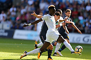 Tammy Abraham of Swansea city goes past Sampdoria's Matias Silvestre. Swansea city v Sampdoria , pre-season friendly at the Liberty Stadium in Swansea, South Wales on Saturday August 5th 2017.<br /> pic by Andrew Orchard, Andrew Orchard sports photography.