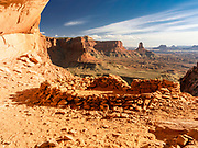 View of False Kiva, an old Anasazi construction that is purportedly was a facility for religious ceremonies. Canyonlands National Park, near Moab, Utah, USA.