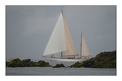 Belle Adventure, a 94' Bermudan Ketch, appears through the mist of the first days racing off the South of Cumbrae...This the largest gathering of classic yachts designed by William Fife returned to their birth place on the Clyde to participate in the 2nd Fife Regatta. 22 Yachts from around the world participated in the event which honoured the skills of Yacht Designer Wm Fife, and his yard in Fairlie, Scotland...FAO Picture Desk..Marc Turner / PFM Pictures