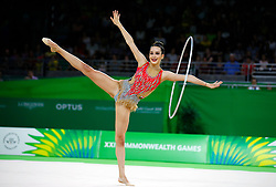 Wales' Abigail Hanford competes in the Team Final and Individual Qualification Sub Division 2 - Rotation 1 at the Coomera Indoor Sports Centre during day seven of the 2018 Commonwealth Games in the Gold Coast, Australia.