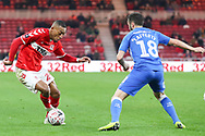 Middlesbrough midfielder Rajiv Van La Parra (29)takes on Peterborough United defender Danny Lafferty (18) during The FA Cup 3rd round match between Middlesbrough and Peterborough United at the Riverside Stadium, Middlesbrough, England on 5 January 2019.