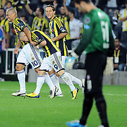 Fenerbahce's Mirosloav STOCH (C) celebrate his goal with team mate during their Turkish superleague soccer match Fenerbahce between Istanbul BB at the Sukru Saracaoglu stadium in Istanbul Turkey on Saturday 01 October 2011. Photo by TURKPIX