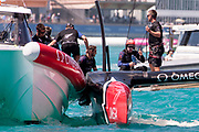 The Great Sound, Bermuda, 25th June 2017. Thumbs up from Emirates Team New Zealand helmsman Peter Burling after winning race eight against Oracle Team USA and going to one win away from taking the America's Cup. Day four of racing in the America's Cup presented by Louis Vuitton.