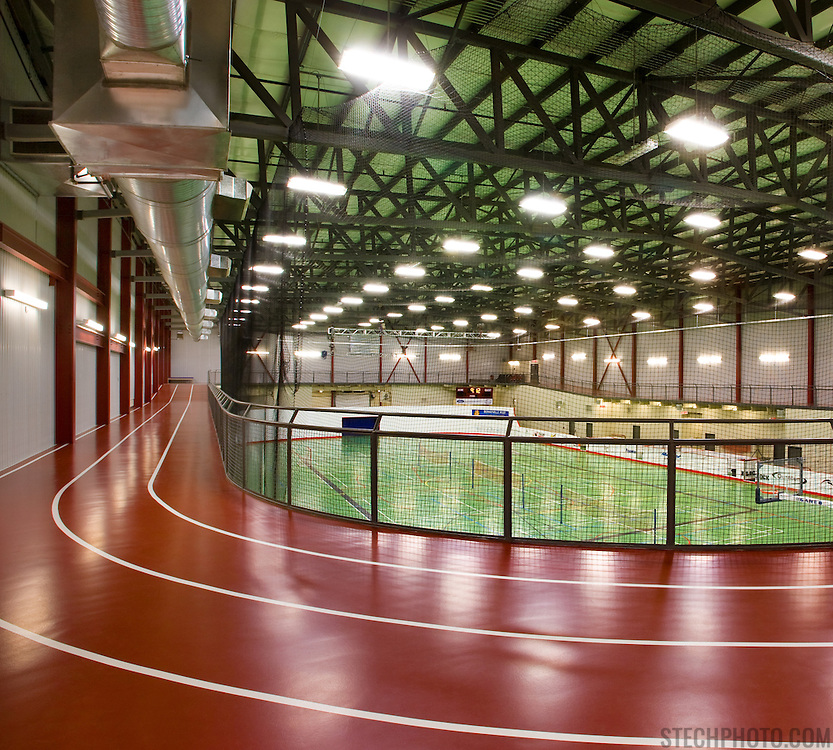 The field house (track and gymnasium) at the Centennial Centre in Bonnyville, Alberta, Canada.